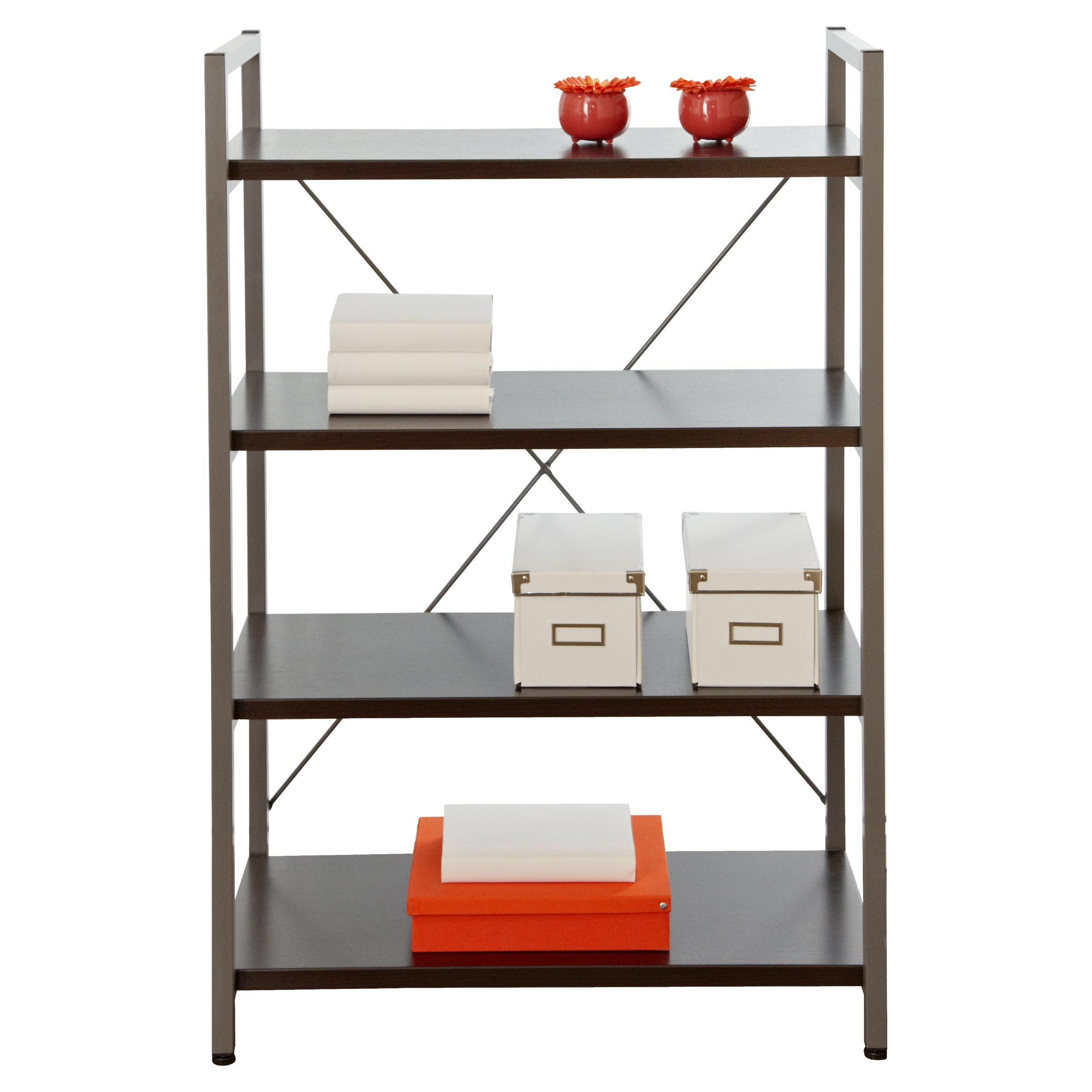 Bookshelves Crafted with a Durable Metal Frame Espresso Modern Bookcase with 4 Shelves - 32W x 16D x 48H in. Assembly Required