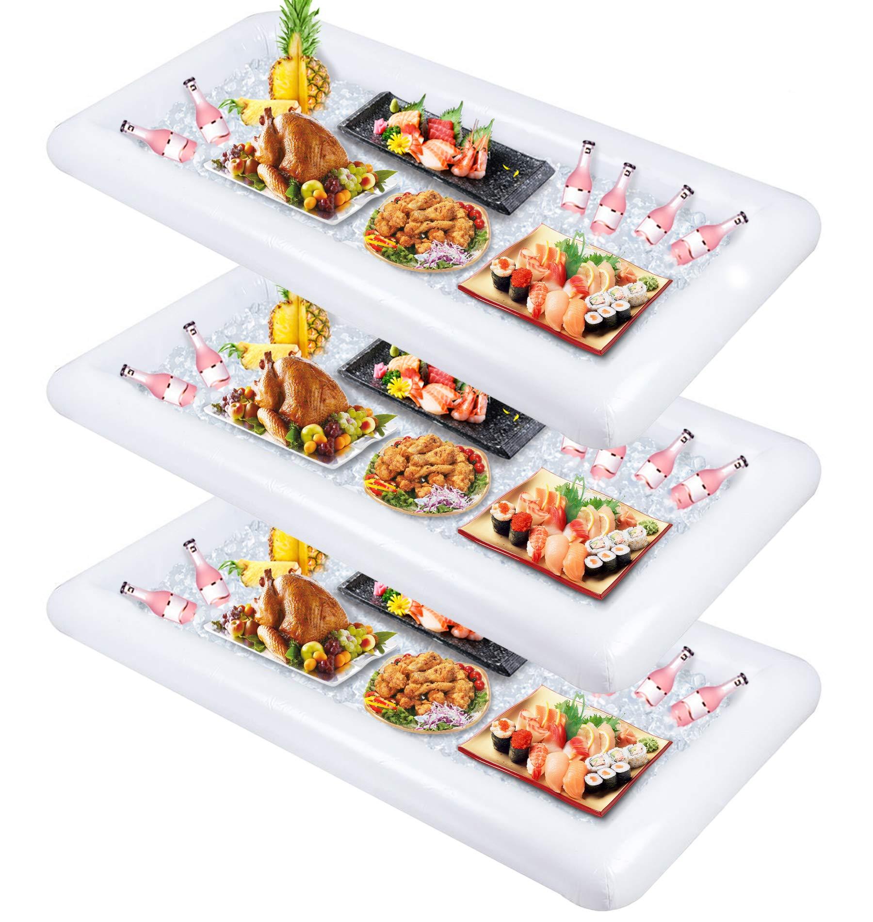 Inflatable Serving Bar,Buffet Cooler with drain plug - Salad Picnic Ice Food Server - Luau Pool Hawaiian Party Supplies 3PCS