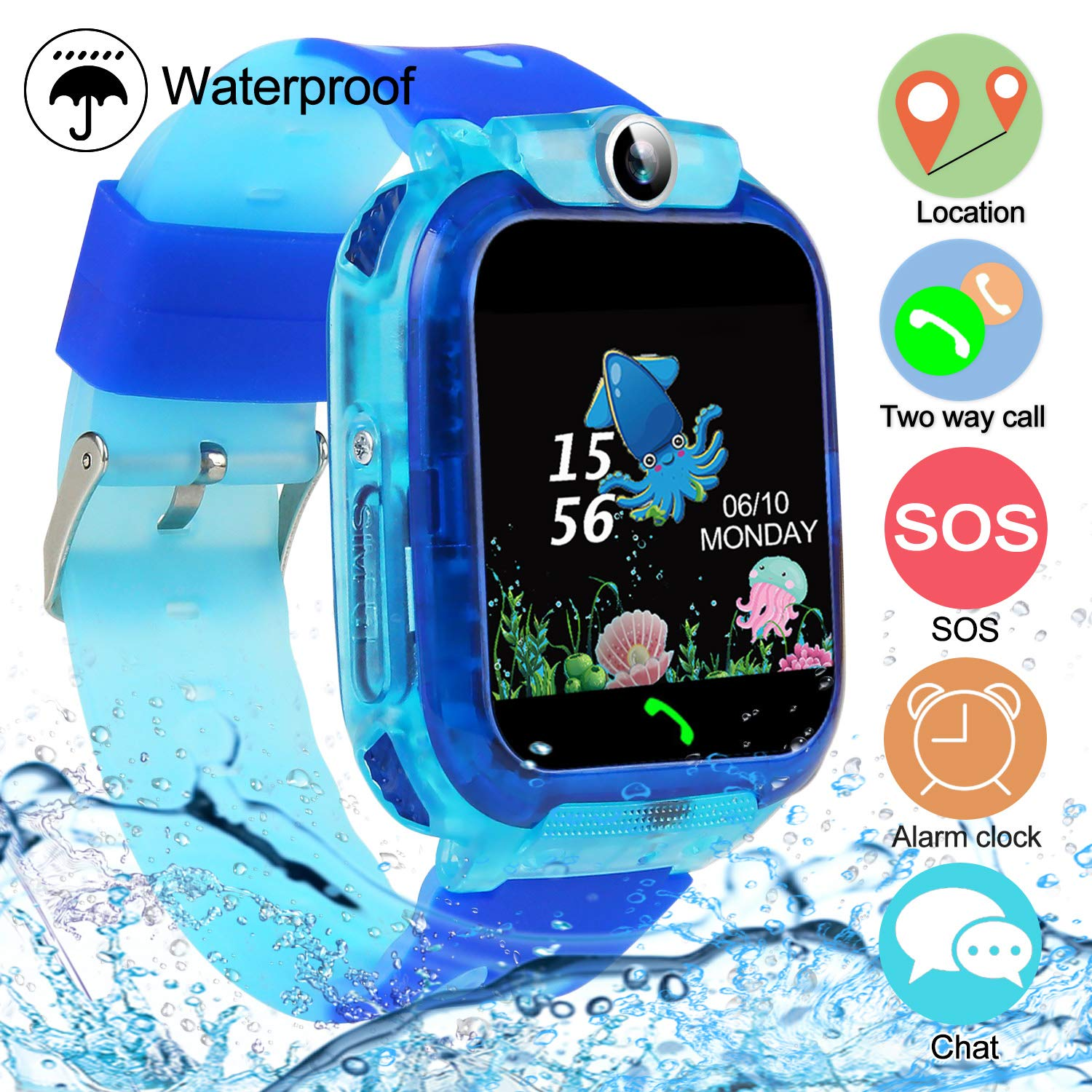 SZBXD Kids Waterproof Smart Watch Phone, LBS/GPS Tracker Touchscreen Smartwatch Games SOS Alarm Clock Camera Smart Watch Christmas Birthday Gifts for School Boy Girls (Light Blue) by SZBXD