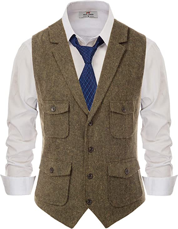 1920s Men's Clothing PJ PAUL JONES Mens Herringbone Tailored Collar Waistcoat Wool Tweed Suit Vest with Flap Pockets $30.99 AT vintagedancer.com