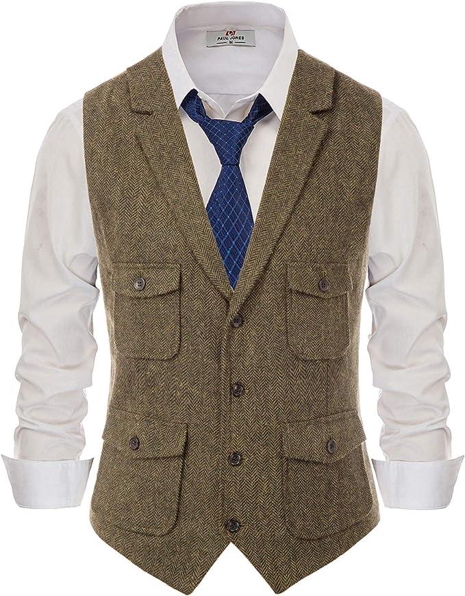 Men's Herringbone Tailored Wool Tweed Suit Vest