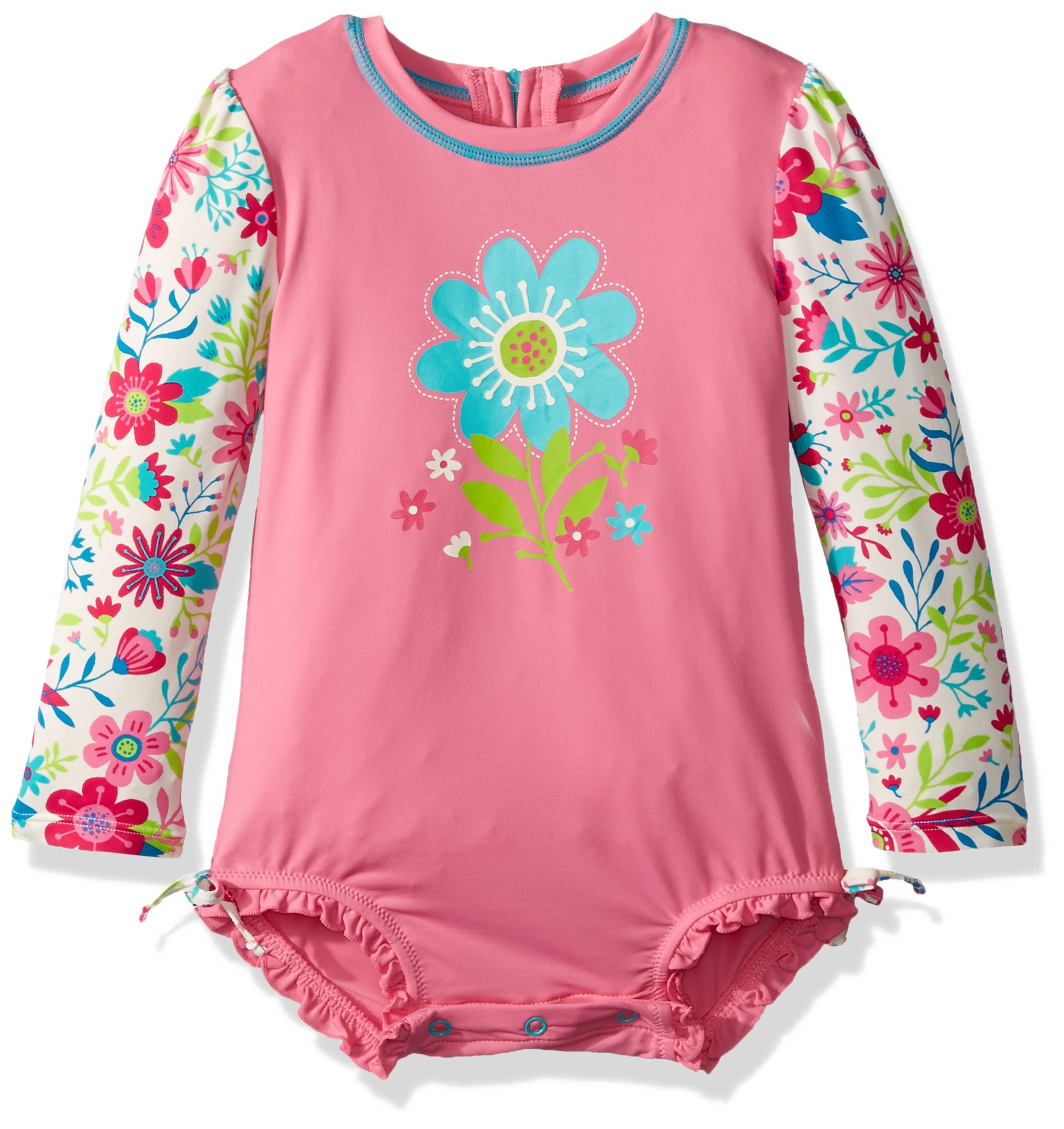 Hatley Girls' Baby Rash Guard, Wall Paper Flowers, 6-9M