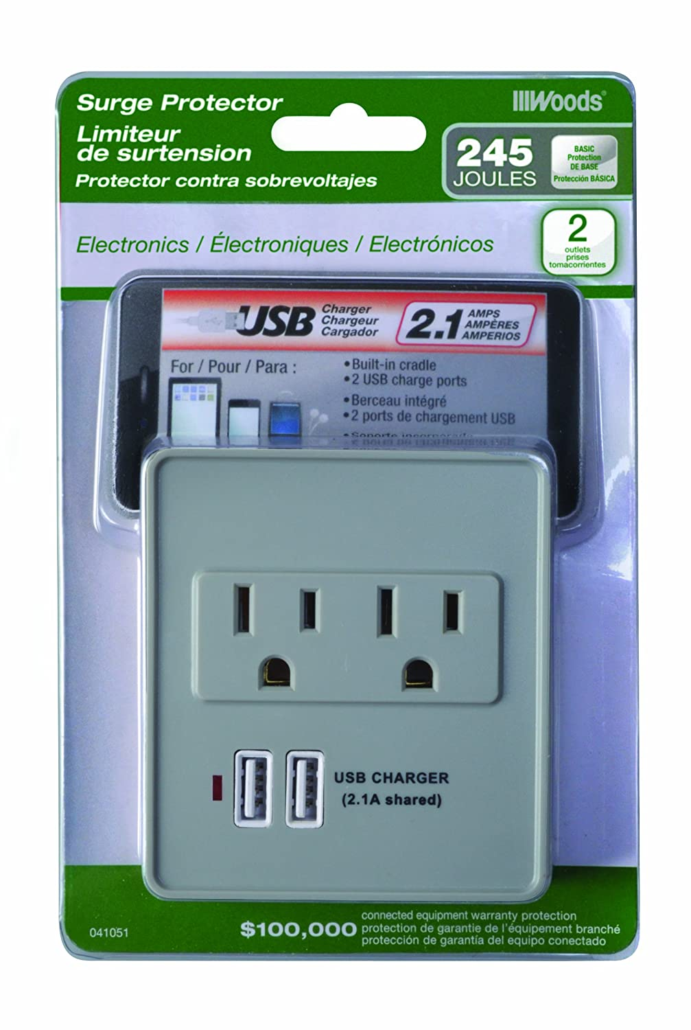 Woods 041801 360-Degree Rotatable USB Charger, 15-Amp, 1800-Watt Max - Power Strips And Multi Outlets - Amazon.com