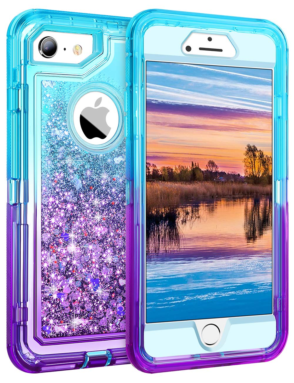 Coolden Case for iPhone 6S Plus Case Protective Glitter Case for Women Girls Cute Bling Sparkle Heavy Duty Hard Shell Shockproof TPU Case for 5.5 Inches iPhone 6 Plus 7 Plus 8 Plus, Aqua Purple