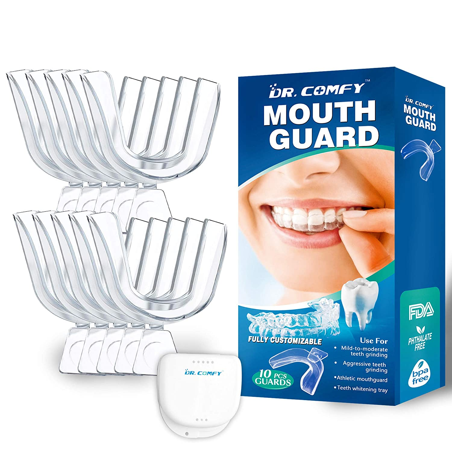 Professional Mouth Guard for Grinding Teeth - Upgraded Dental Guard For Teeth Grinding, Anti Grinding Dental Night Guard, Stops Bruxism, Eliminates Teeth Clenching, Case Include-10PS