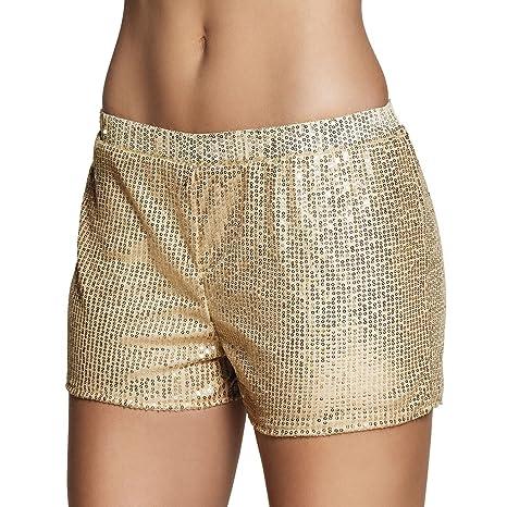 8e63546f55 Pantalones cortos con brillantes dorados para mujer