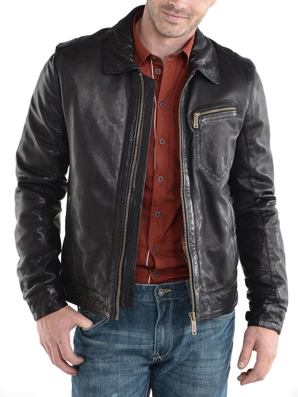 Royal Outfit Genuine Lambskin Leather Regular Fit Biker Jacket for Men - Black