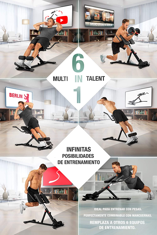 Sportstech BRT150 Entrenador de espalda y abdomen 6en1; ergonómico y ajustable; sistema único de bloqueo y fácil de plegar, diseño antideslizante, ...