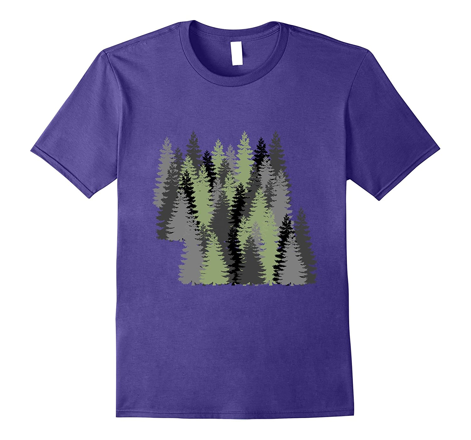 Pine Tree Forest Graphic Art Natural Forest Painting Tshirt-FL