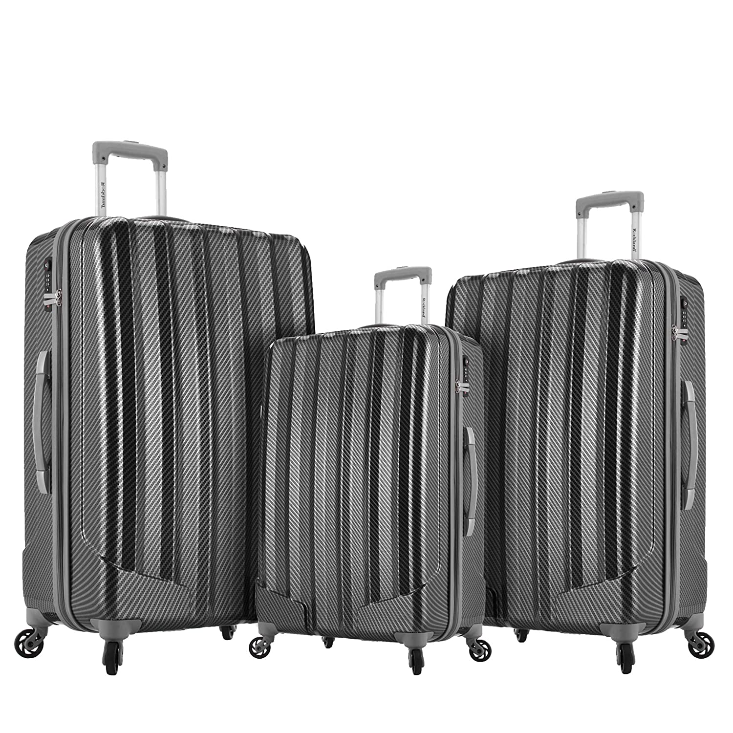 Amazon.com | Rockland Barcelona 3 Polycarbonate/abs Set with 6 Pc. Travel Set & Luggage Cover, Black | Luggage Sets