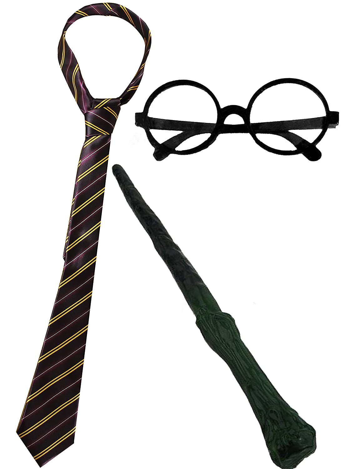WIZARD SET FANCY DRESS ACCESSORY COSTUME SCHOOL BOY TIE + ROUND WIZARD GLASSES + PLASTIC BRANCH WAND MAGICIAN OUTFIT ILFD-WIZ-GTBRANCHWAND