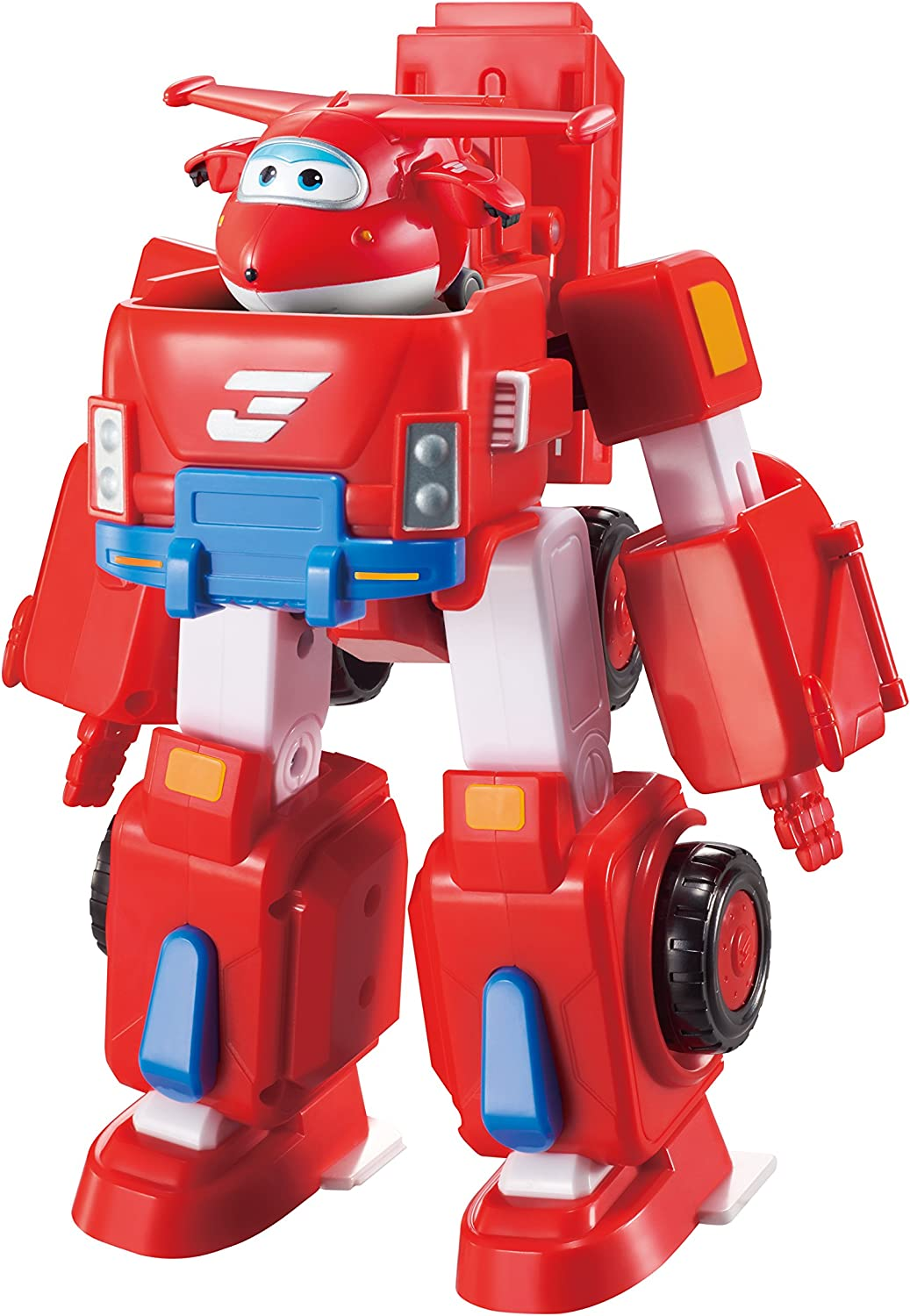Super Wings- Deluxe Transforming Jett Vehicle, Color Rosso, 7 Pulgadas (Alpha Animation & Toys Ltd EU720311)