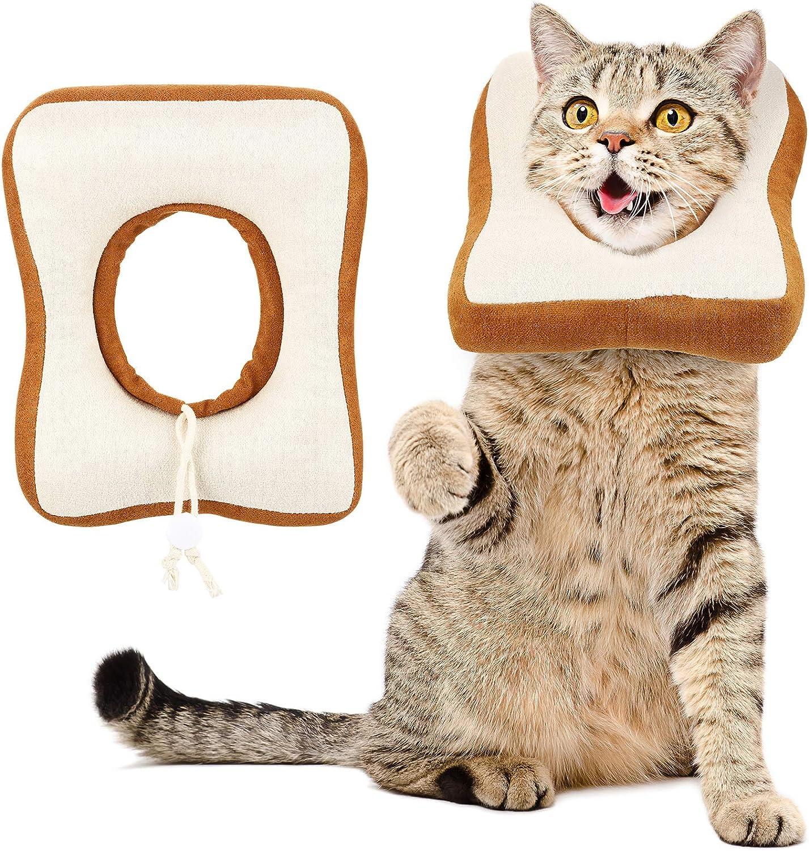 2 Piezas de Cono Ajustable de Mascota Collar Electrónico de Gato, Lindo Collar en Forma de Pan Tostado, Cono Protector Collares de Recuperación de Pan Isabelinos, Borde Suave para Gatito