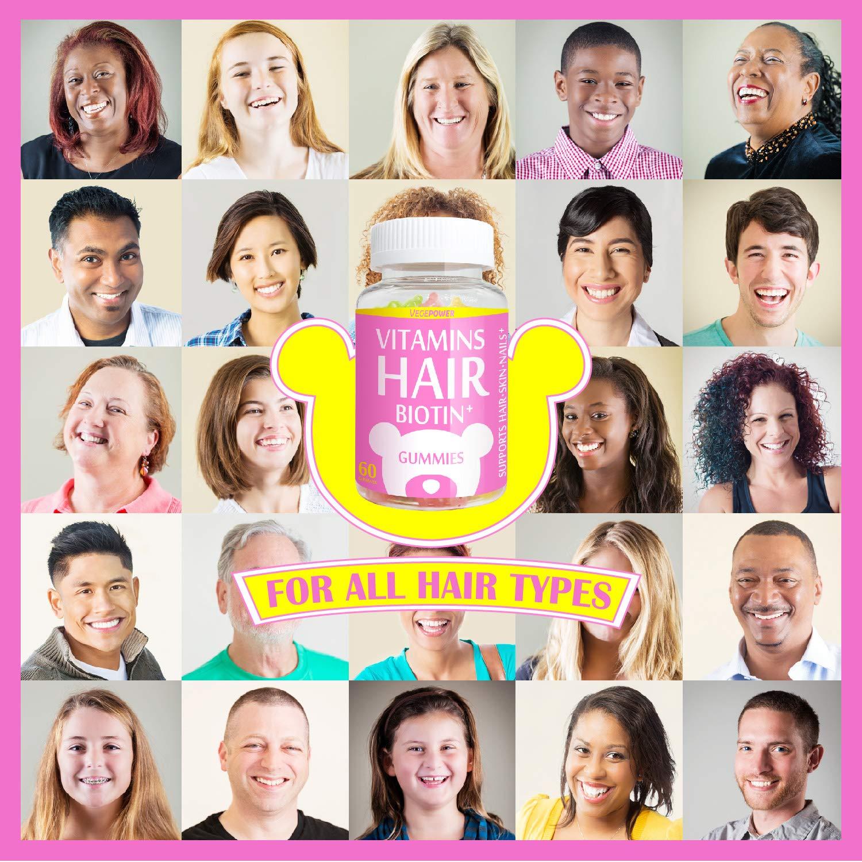 VegePower Hair Skin and Nails Vitamin Gummies-Biotin 10,000mcg [Highest Potency] for Hair Growth-Vegan Hair Bear Gummy for Women & Men,Non-GMO,Gluten-Free,Hair Thicken Supplement