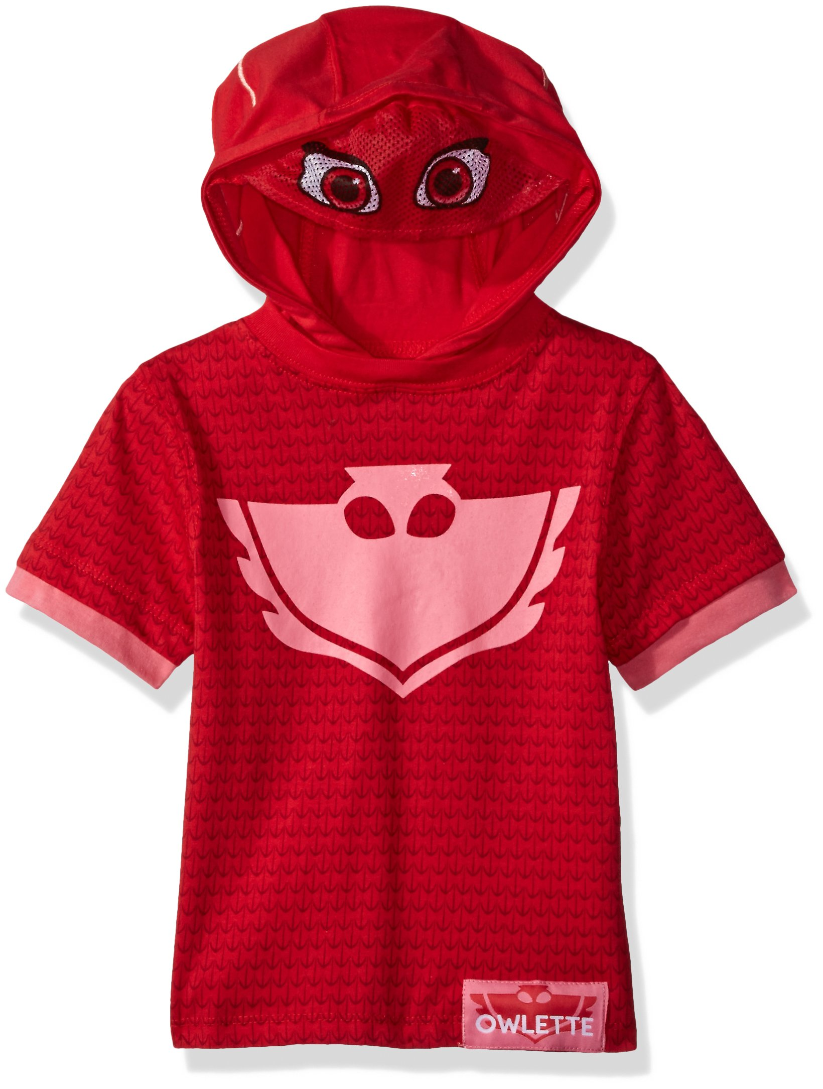 PJMASKS Girls' Tee Owlette Hoodie, Pink Short Sleeve, 4T by PJMASKS (Image #1)