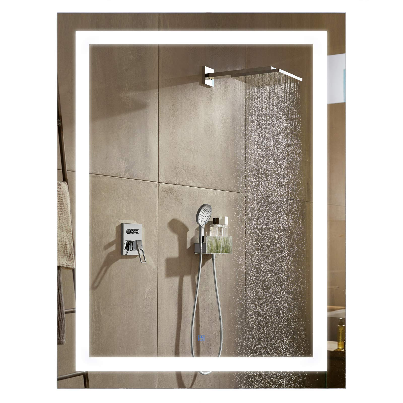 HomCom LED Wall Mount Bathroom Vanity Make Up Mirror w/Defogger - 32'' x 24'' by HOMCOM