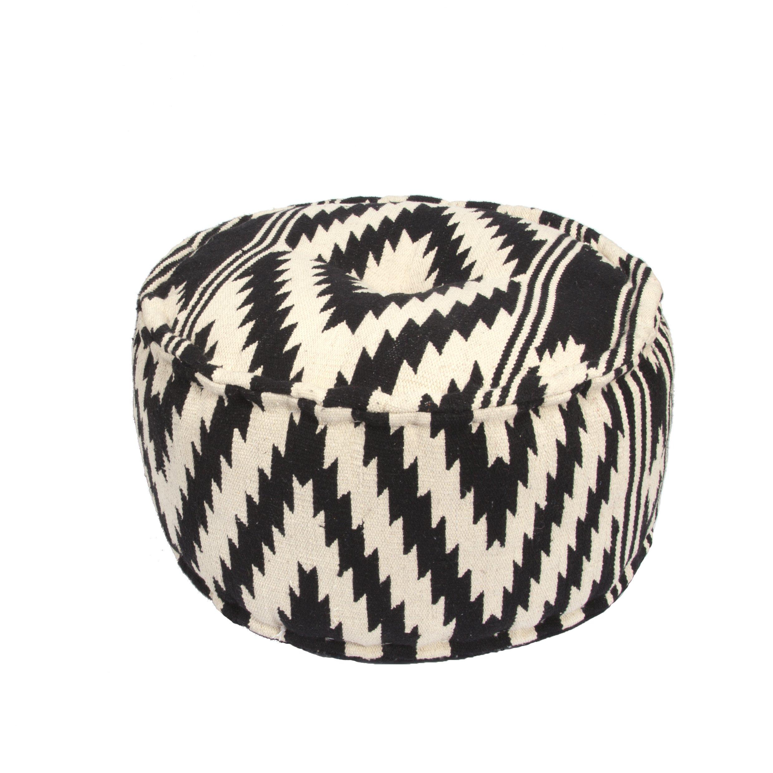 Jaipur Tribal Pattern Black Cotton Pouf, 24-Inch x 24-Inch x 12-Inch, Peat Geo