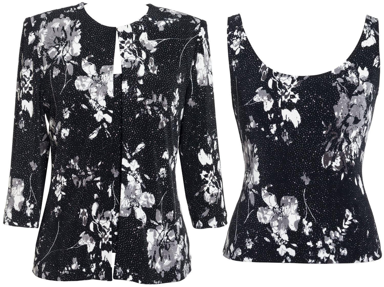 Alex Evenings Plus Size 4211414 Twin Set -Size: 2X Color Black