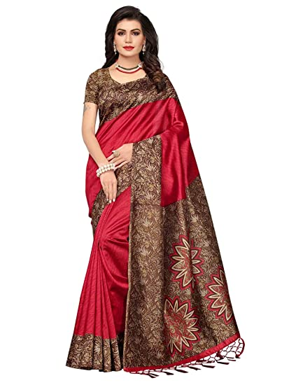 3462ee331c469 Mrinalika Fashion Women s Art Silk Saree With Blouse Piece (Srja006 Red)   Amazon.in  Clothing   Accessories