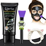 Gjerta Blackhead Remover Mask, 50ml/2.11oz Activated Bamboo Charcoal Peel-off Facial Mask for Acne and Blemishes, Deep Cleansing Black Mask with Facial Brush Headband(60g)
