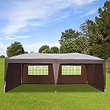 Tonnelle tente pavillon de jardin réception chapiteau pliable amovible oxford anti-UV avec sac de transport grand espace 6L x 3lm café neuf 83