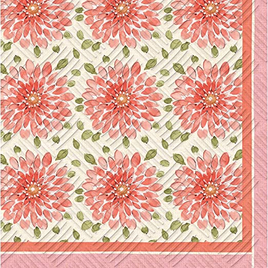 20 count Cypress Home Sketch Floral Embossed Paper Cocktail Napkin