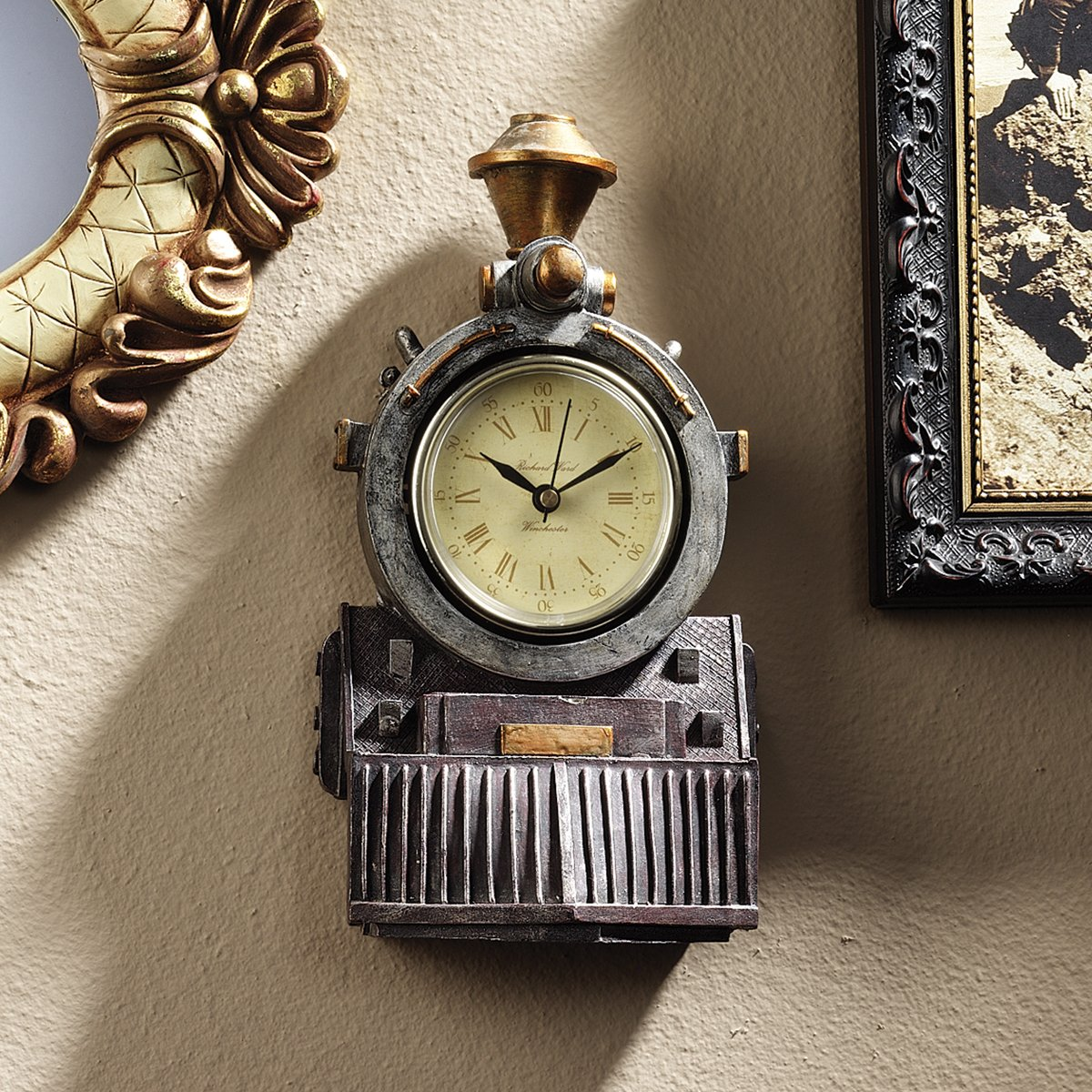 Design Toscano All Aboard Locomotive Train Steampunk Decor Wall Clock, 9 Inch, Polyresin, Full Color