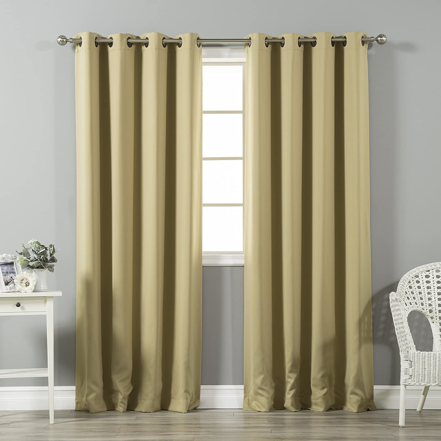 "Best Home Fashion Premium Thermal Insulated Blackout Curtains - Antique Bronze Grommet Top - Wheat - 52"" W x 120"" L - Tie Backs Included (Set of 2 Panels)"