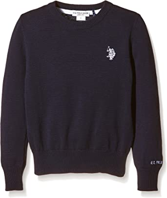 U.S. Polo Assn. Dbl Horse R-Neck Knit, Jersey para Niñas, Azul ...