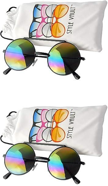 V137-vp Flip Up - Gafas de sol de metal con lente redonda de ...