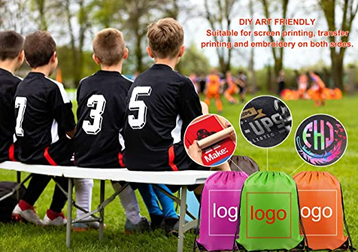 Amazon.com | Drawstring-Backpack-String-Gym-Bag 10 Pack Drawstring Gym Bag Custom Multipurpose Drawstring Backpack Bulk Durable and Lightweight ...