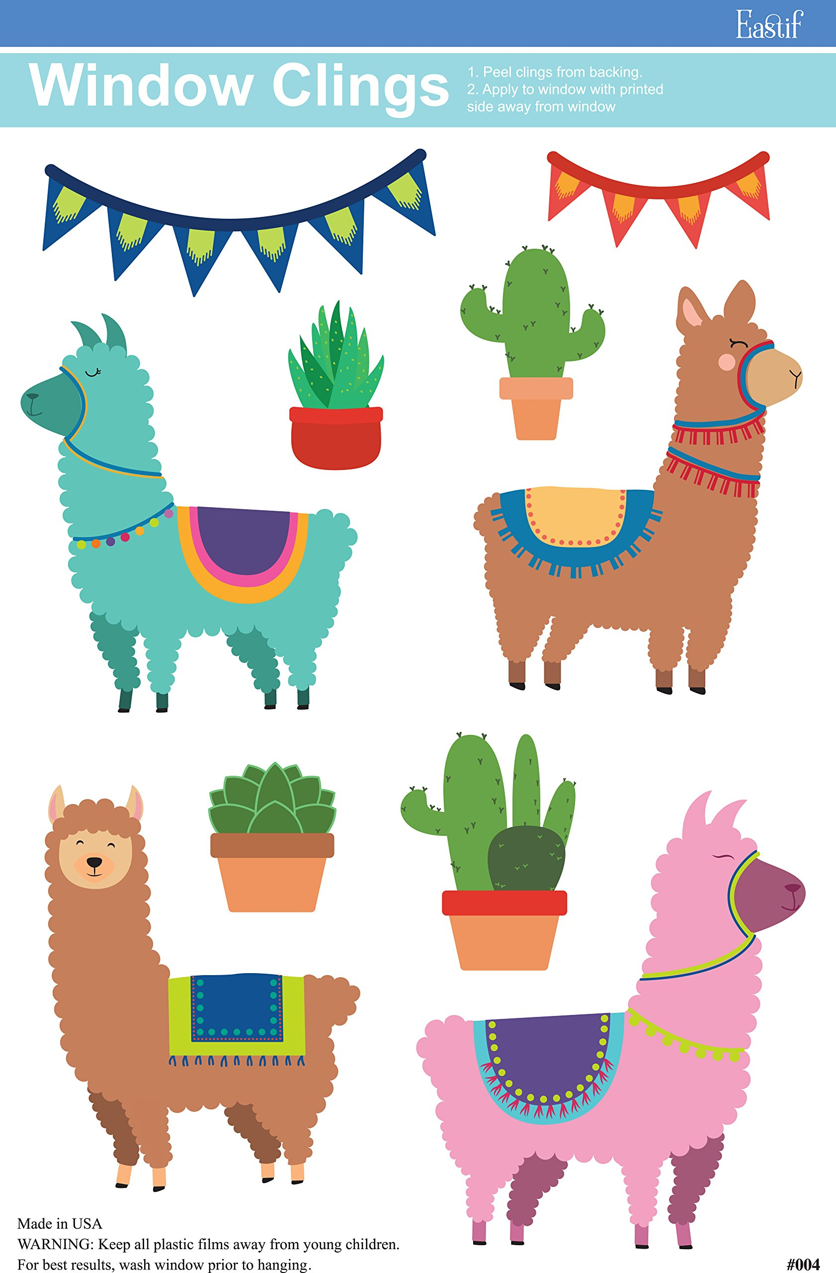 Llama and Cactus Party Window Cling