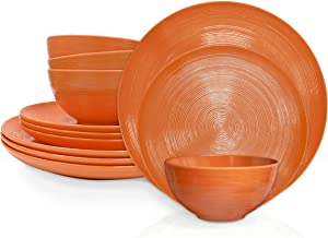 Zak Designs American Conventional Melamine 12 Piece Dinnerware Set Service for 4 Includes Dinner Plates, Salad Plates, and Individual Bowls, Durable and BPA Free (Orange)