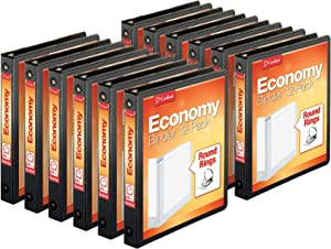 "Cardinal Economy 3-Ring Binders, 1"", Round Rings, Holds 225 Sheets, Clearvue Presentation View, Non-Stick, Black, Carton of 12"