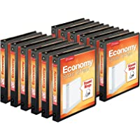 "Cardinal Economy 3-Ring Binders, 1"", Round Rings, Holds 225 Sheets, Clearvue Presentation View, Non-Stick, Black, Carton of 12 (90620)"