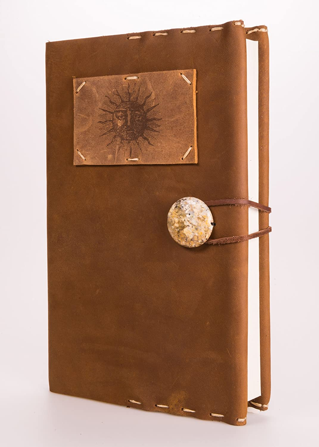 Refillable Sun Leather Journal with Jasper Concho + 220 Blank Pages 5.5' x 8.5' (JM-45)