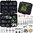 246/329pcs Fishing Accessories Equipment Kit Including Sinker Bullet Weights,Fishing Swivels Snap,Sinker Slides,Jig Hook,Fishing Tackle Box for Bass Trout Freshwater Saltwater