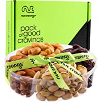 Gourmet Fresh Nuts Gift Basket (4 Section) - Healthy Food Arrangement Platter, Birthday Edible Care Package Tray - Fathers Day Snack Box for Dad, Husband, Men, Adults, Women, Wife - Prime Delivery