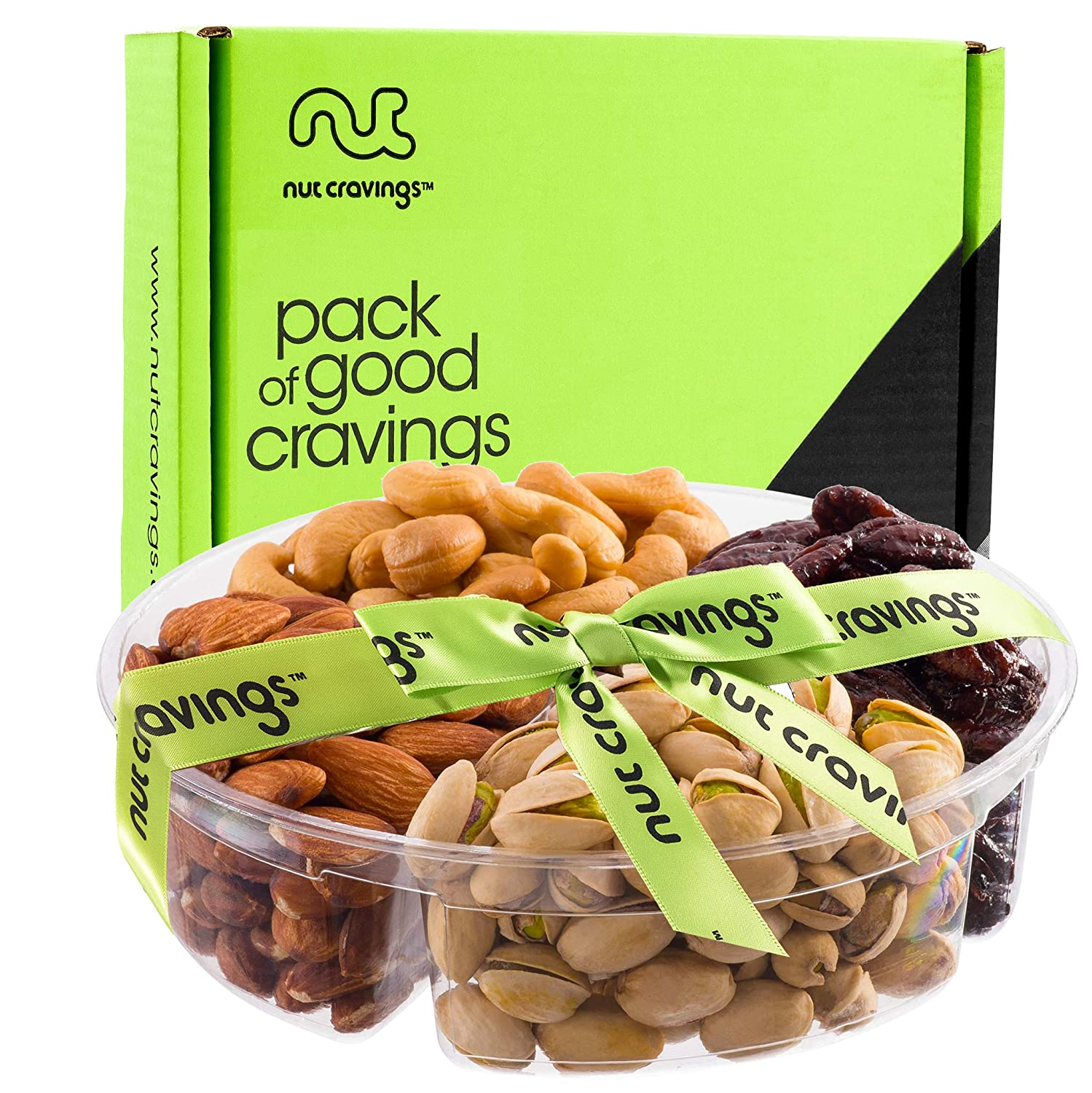 Holiday Nuts Gift Basket | Medium 4-Sectional Delicious Variety Mixed Nuts Prime Gift | Healthy Fresh Gift Idea For Christmas, Thanksgiving, Mothers & Fathers Day, And Birthday