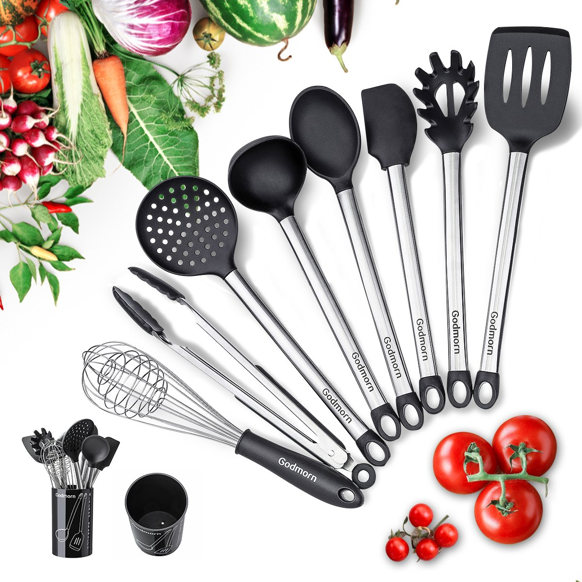 Godmorn Kitchen Utensils,Kitchen Utensil Set 9 Pcs, Silicone cookware Nonstick Cooking Tool with Plastic Holder - Silicone & Stainless Steel -For Pots & Pans - Black