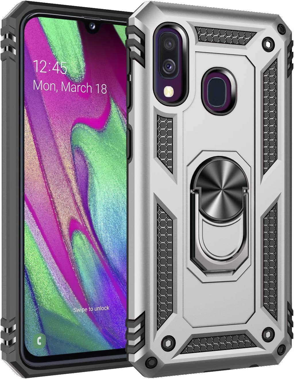 Ring bracket Magnetic Car Mount Series Heavy Armor TPU PC Military Anti-drop Case Silver TANYO Case Compatible with Samsung Galaxy A10s,