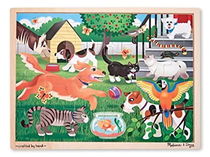 73dd1c8746c9 Image Unavailable. Image not available for. Color  Melissa   Doug Pets at Play  Wooden Jigsaw Puzzle With Storage Tray ...