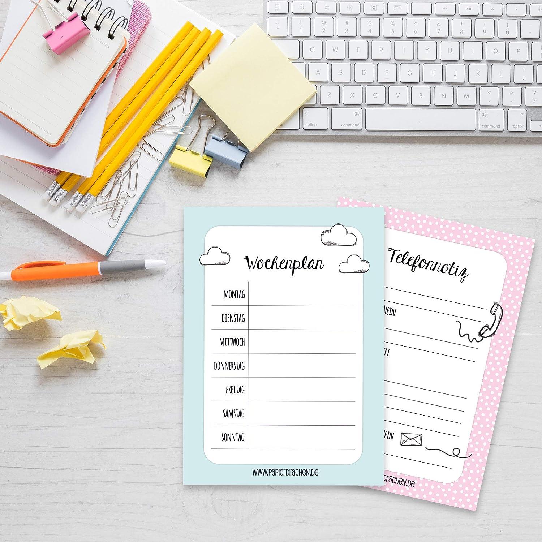 Tropisch Papierdrachen 6 DIN A6 Notizbl/öcke f/ür Termine Wochenplaner Anrufe to do Liste Einkaufslisten und Notizen Notizblockset 2