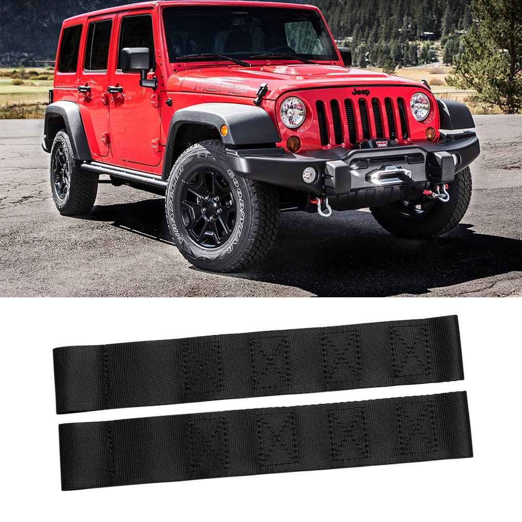 2018 New Heavy Duty Black Nylon Material Car Adjustable Door Limiting Check Strap Perfect for JEEP Wrangler Auto Accessories(Pack of 2)