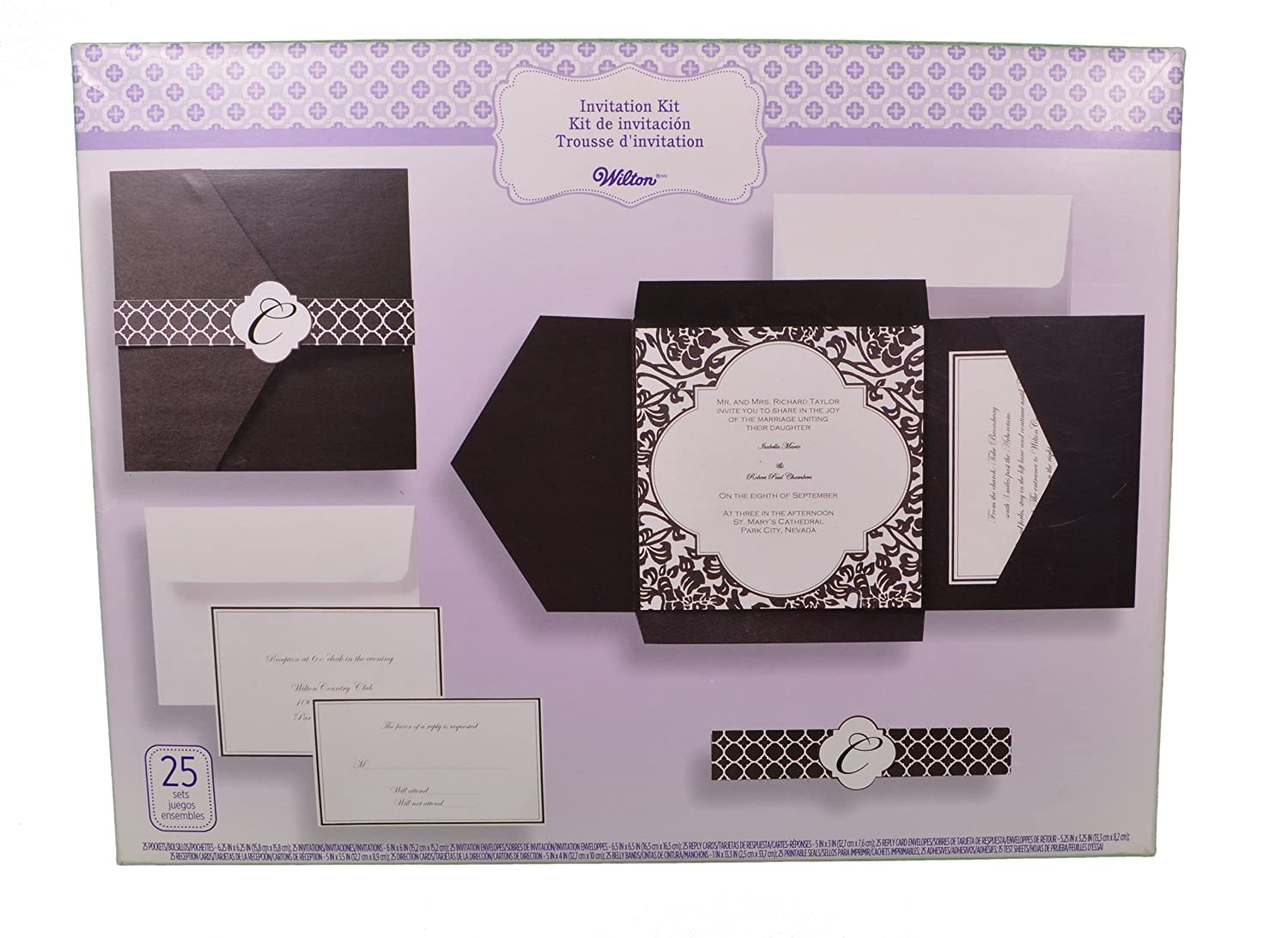Amazon.com: Set Of 25 Wilton Wedding Black And White Vintage Pocket Invitation  Kit: Home U0026 Kitchen