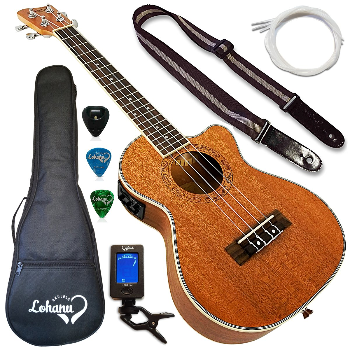 Lohanu Ukulele Cutaway Electric Tenor Size With 3 Band EQ With All Accessories Included!