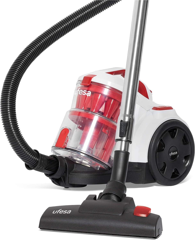 Ufesa AS4050-Aspirador Multiclónico, 800W, Sin Bolsa, Filtro Hepa 13, AAA, depósito 2L, Accesorios, Blanco y Rojo: Amazon.es: Hogar