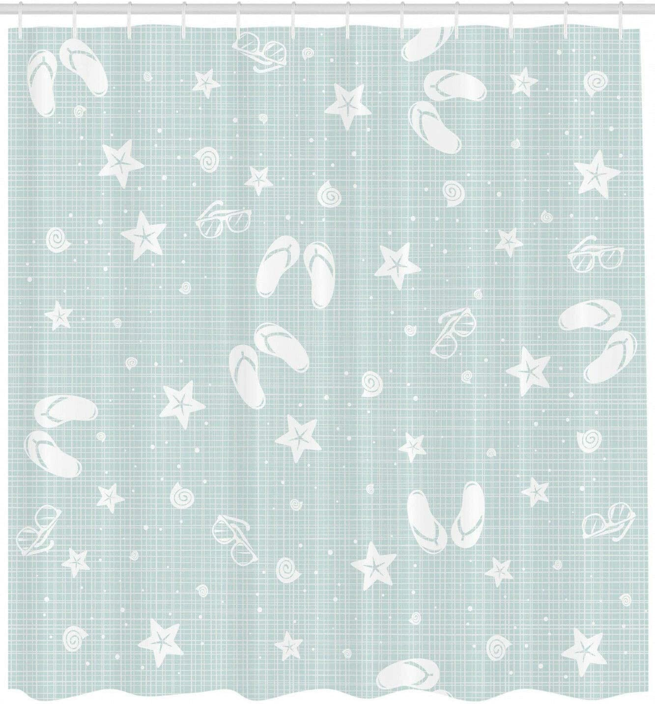 Aqua Shower Curtain Beach Theme Sea Star Print for Bathroom