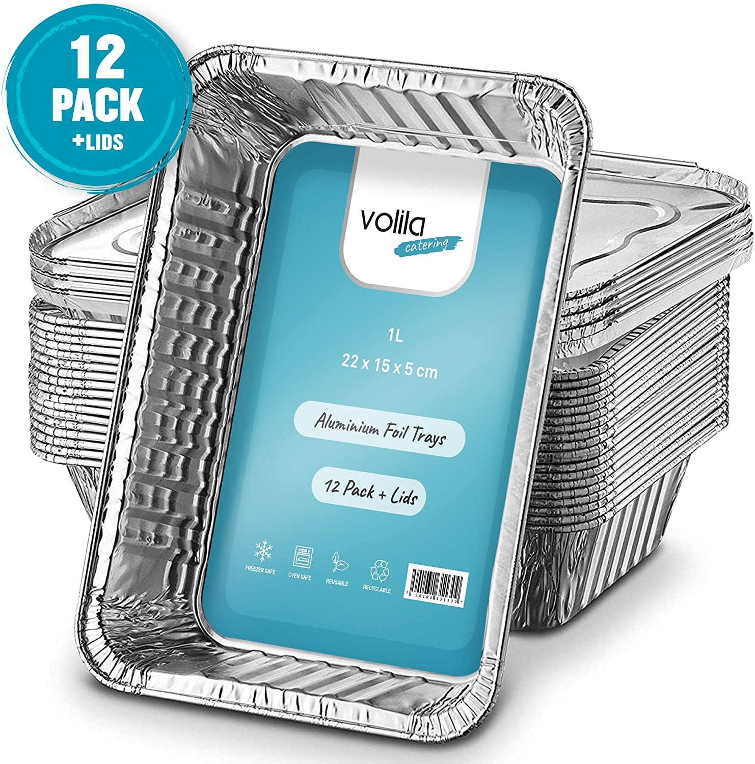 Freezing and Storing Trays with Silver Lids Cooking 12 Pack Disposable Foil Pans Aluminium Foil Takeaway 1L Containers for Baking