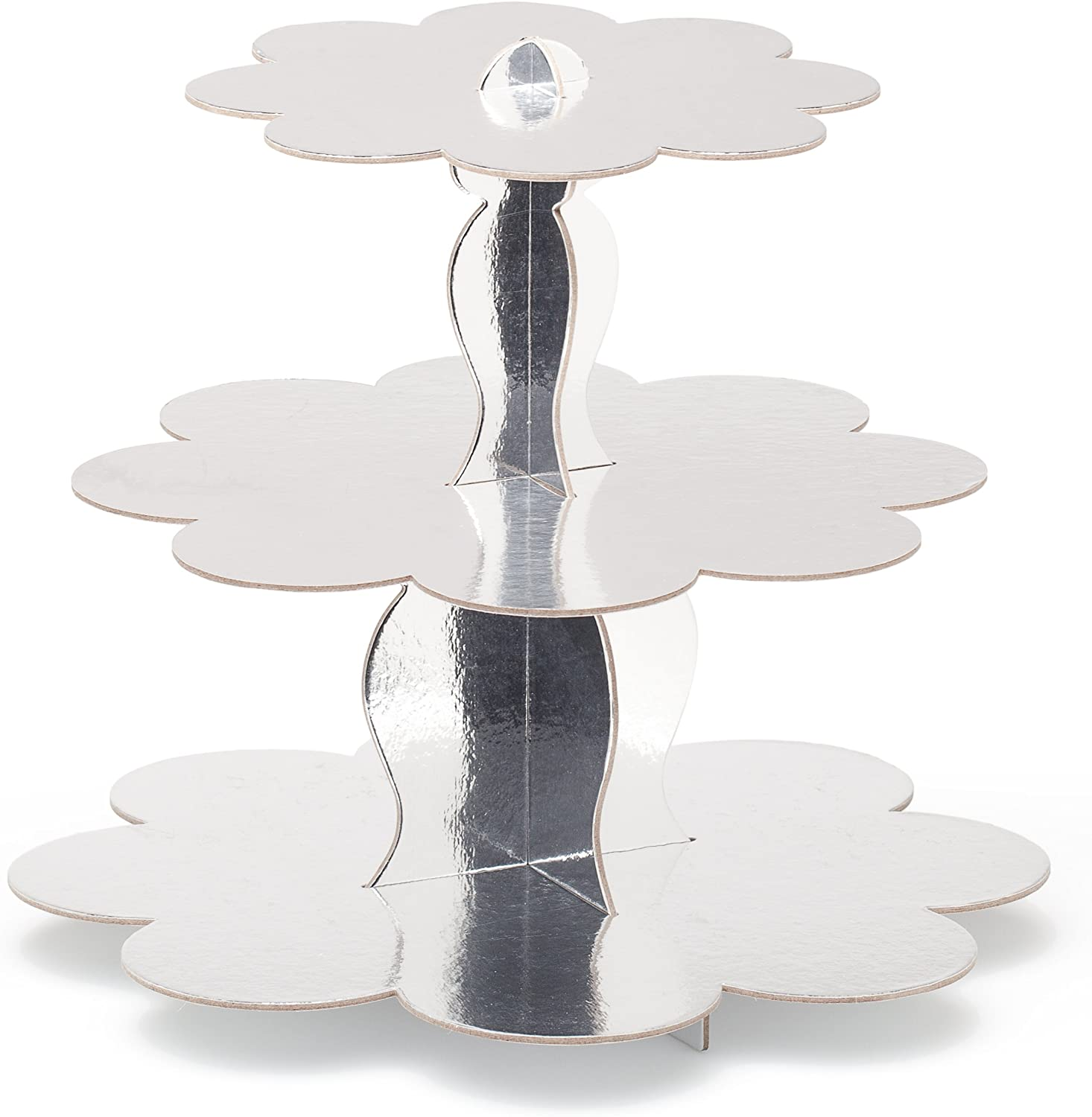 Sturdy Metallic Gold Finish Durable Cardboard 11.5 Height x 14 Diameter Display /& Serve Desserts or Appetizers Simply Baked 3-Tier Cake Stand